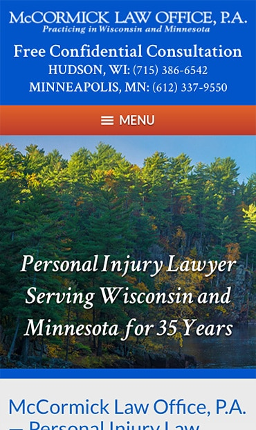Responsive Mobile Attorney Website for McCormick Law Office, P.A.