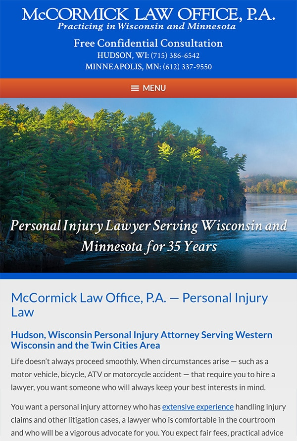 Mobile Friendly Law Firm Webiste for McCormick Law Office, P.A.