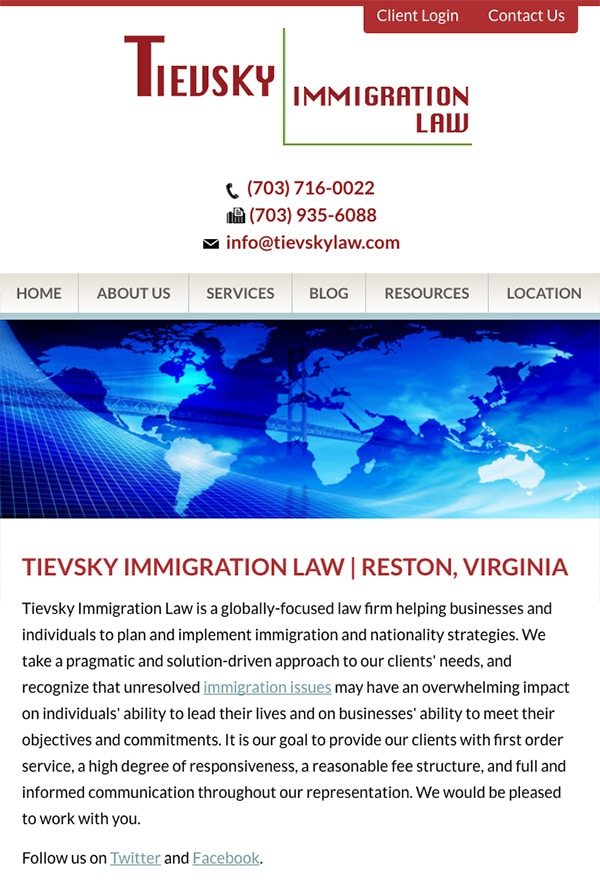 Mobile Friendly Law Firm Webiste for Tievsky Immigration Law