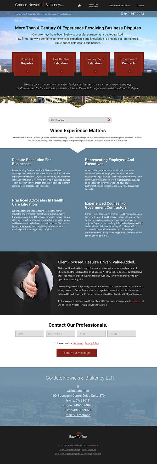 Law Firm Website Design for Gordee, Nowicki & Blakeney LLP