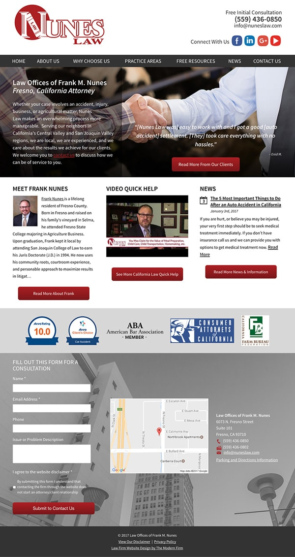 Law Firm Website Design for Law Offices of Frank M. Nunes