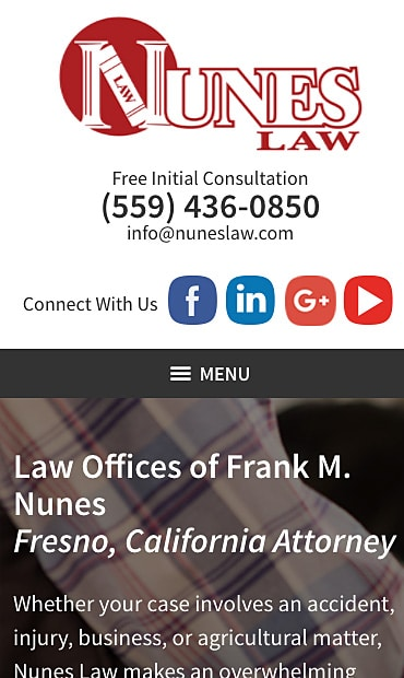 Responsive Mobile Attorney Website for Law Offices of Frank M. Nunes