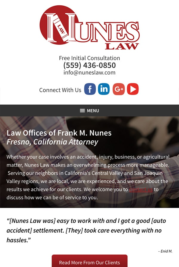 Mobile Friendly Law Firm Webiste for Law Offices of Frank M. Nunes