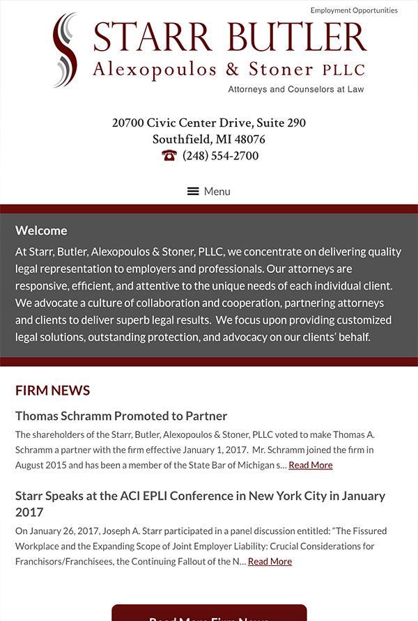 Mobile Friendly Law Firm Webiste for Starr, Butler, Alexopoulos & Stoner, PLLC