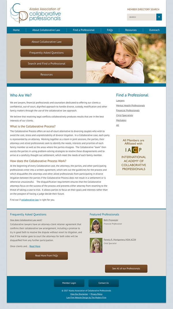 Law Firm Website Design for Alaska Association of Collaborative Professionals
