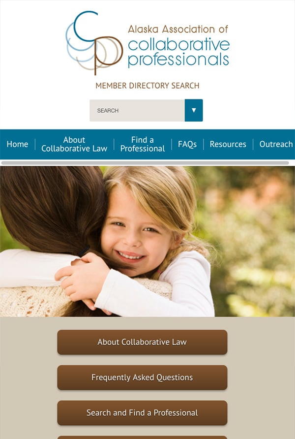 Mobile Friendly Law Firm Webiste for Alaska Association of Collaborative Professionals