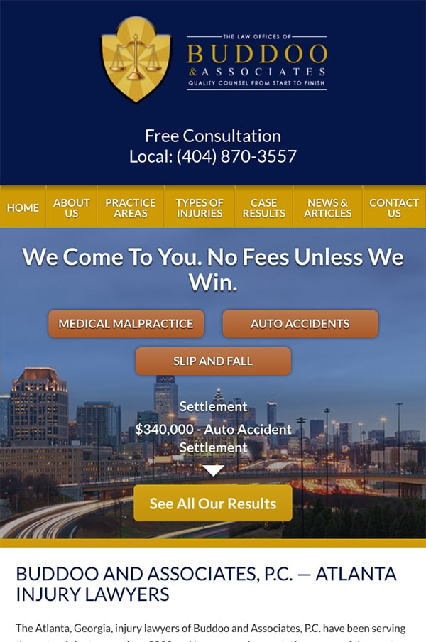 Mobile Friendly Law Firm Webiste for Buddoo and Associates, P.C.