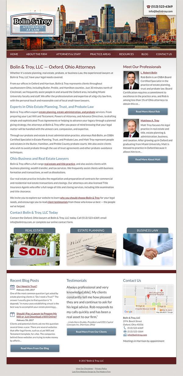 Law Firm Website Design for Bolin & Troy, LLC