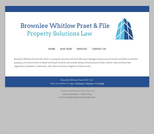 Law Firm Website Design for Brownlee Whitlow Praet & File, PLLC