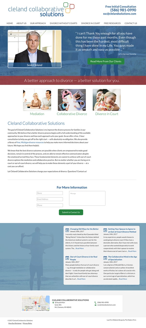 Law Firm Website Design for Cleland Collaborative Solutions