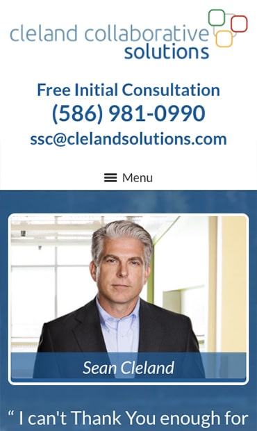 Responsive Mobile Attorney Website for Cleland Collaborative Solutions