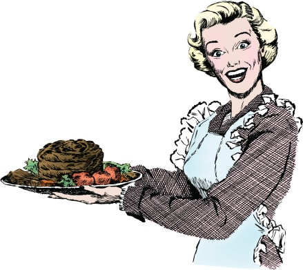 1950s illustration of Woman with Pot Roast