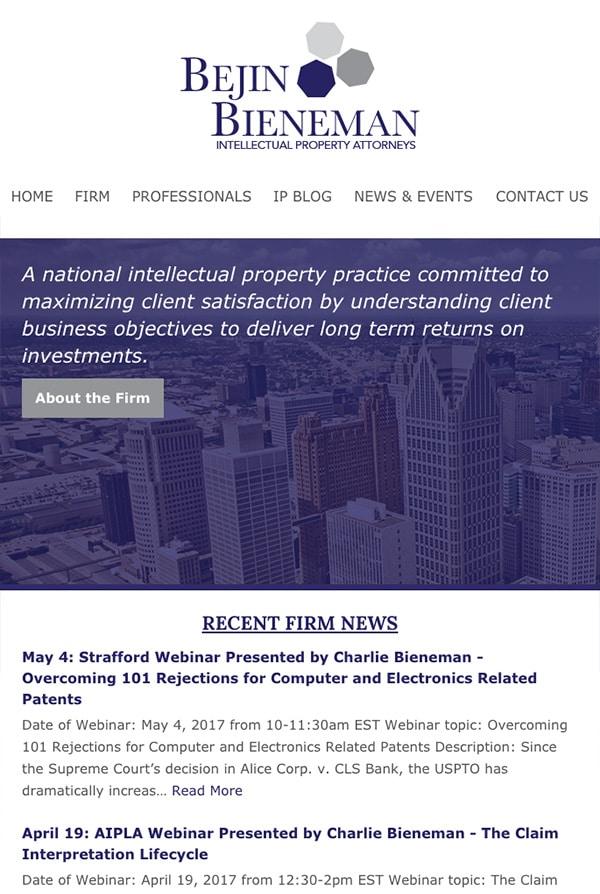 Mobile Friendly Law Firm Webiste for Bejin Bieneman, PLC