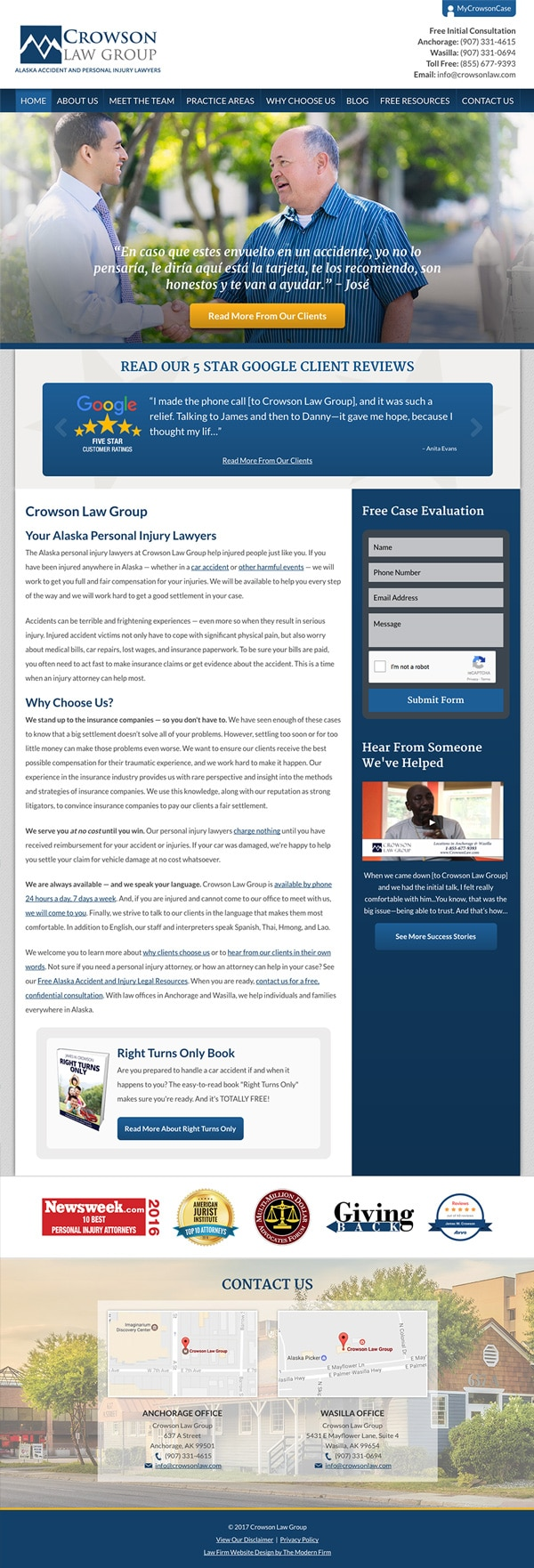 Law Firm Website Design for Crowson Law Group