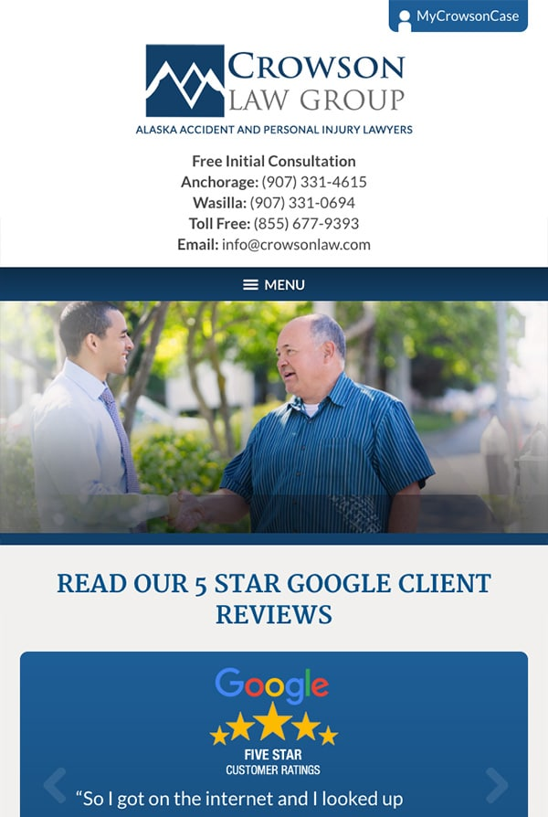 Mobile Friendly Law Firm Webiste for Crowson Law Group