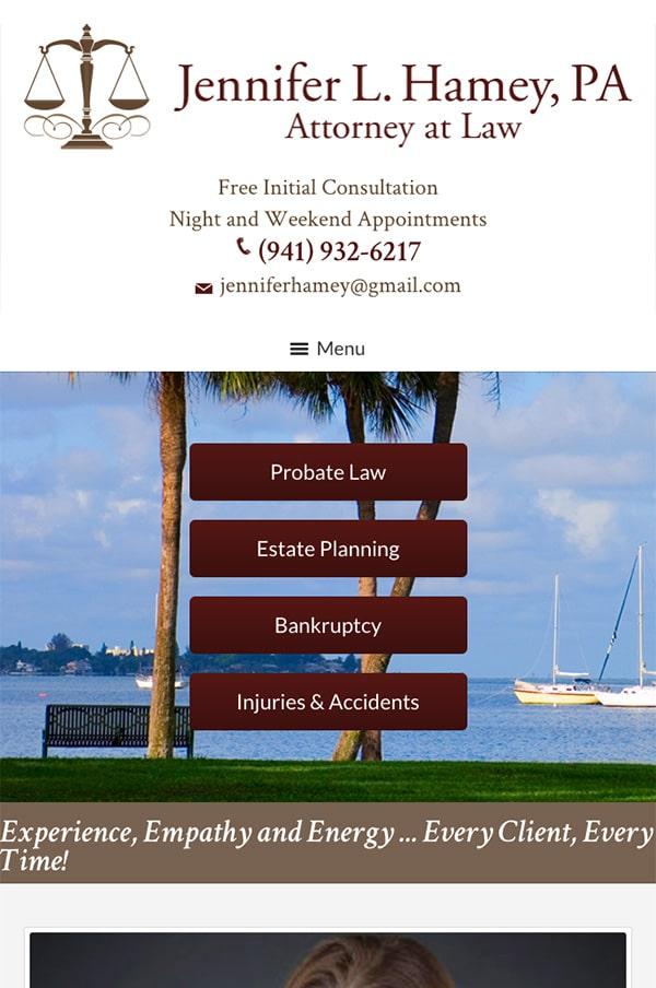 Mobile Friendly Law Firm Webiste for Jennifer L. Hamey, PA