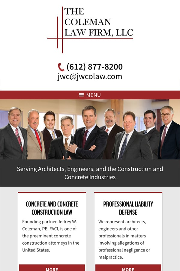 Mobile Friendly Law Firm Webiste for The Coleman Law Firm, LLC