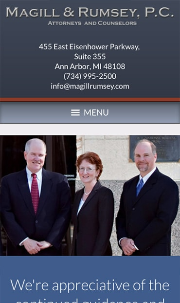 Responsive Mobile Attorney Website for Magill and Rumsey, P.C.