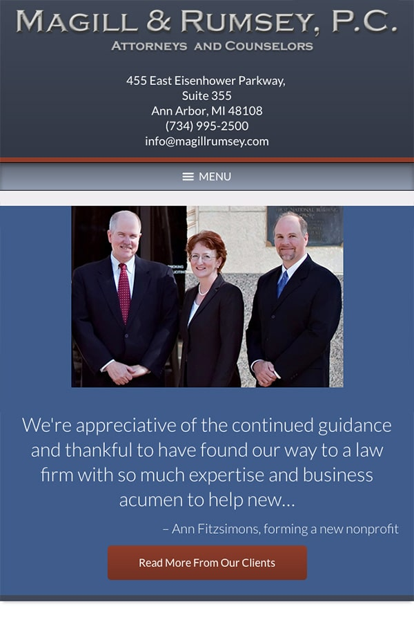 Mobile Friendly Law Firm Webiste for Magill and Rumsey, P.C.