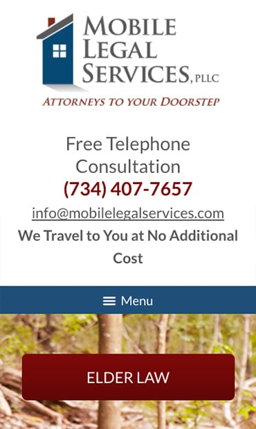 Responsive Mobile Attorney Website for Mobile Legal Services, PLLC