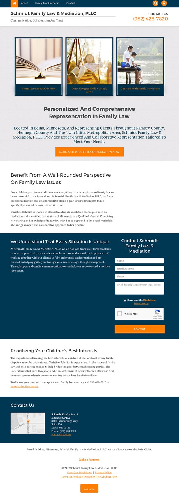 Law Firm Website Design for Schmidt Family Law & Mediation, PLLC