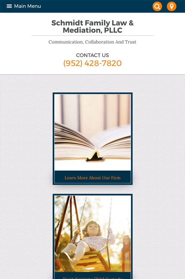 Mobile Friendly Law Firm Webiste for Schmidt Family Law & Mediation, PLLC