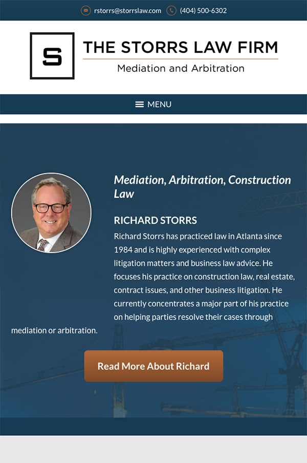 Mobile Friendly Law Firm Webiste for The Storrs Law Firm
