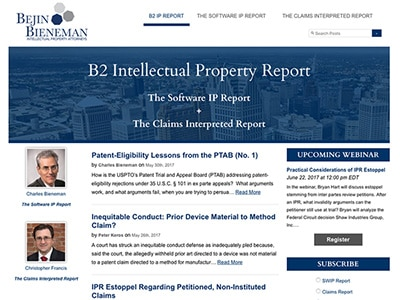 Website Design for B2 Intellectual Property Report Blog