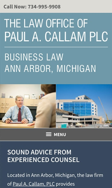 Responsive Mobile Attorney Website for The Law Office of Paul A. Callam PLC