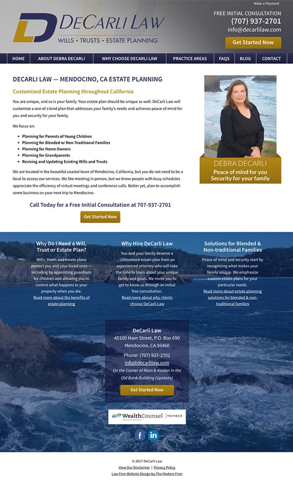 Law Firm Website Design for DeCarli Law