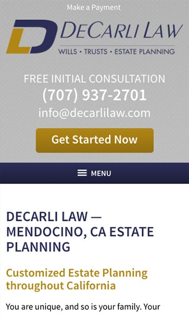 Responsive Mobile Attorney Website for DeCarli Law