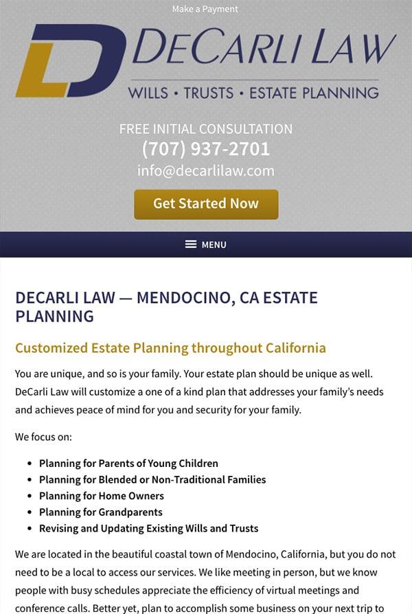 Mobile Friendly Law Firm Webiste for DeCarli Law