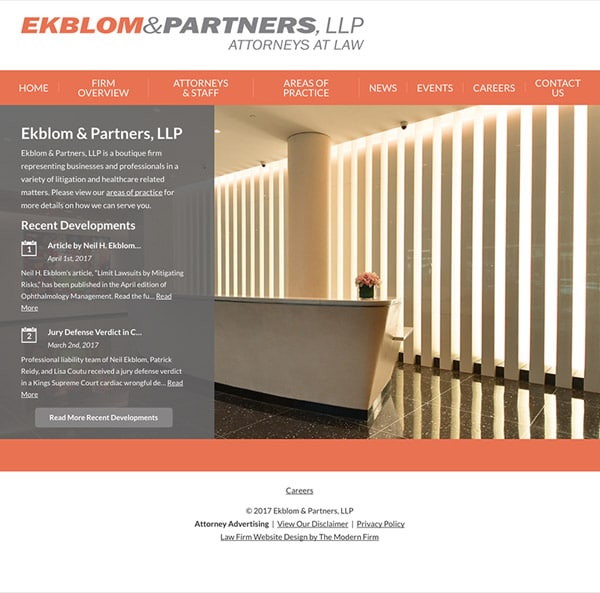 Law Firm Website for Ekblom & Partners, LLP