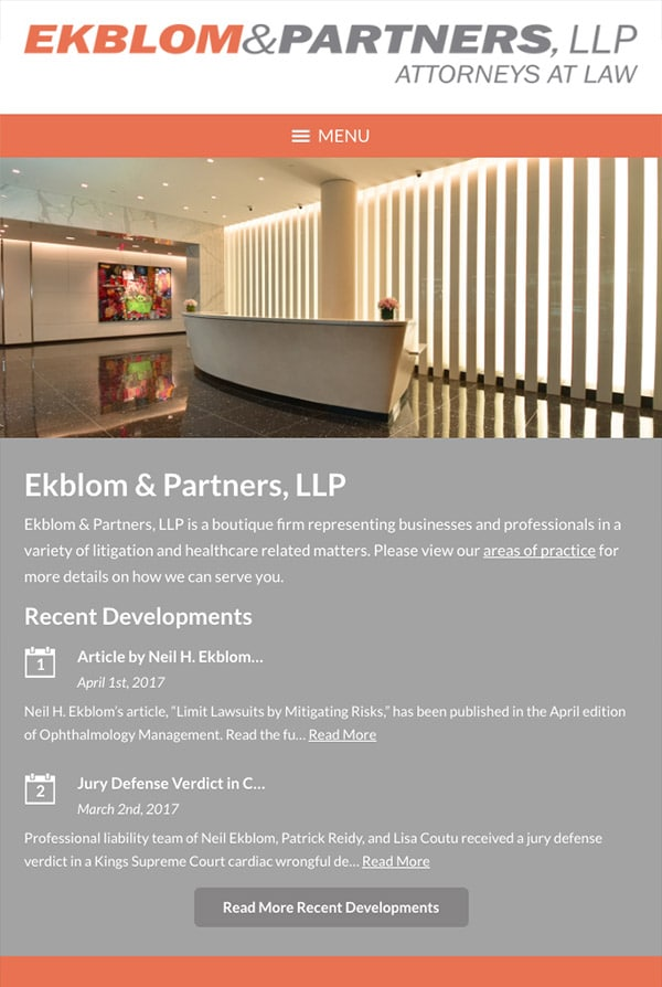 Mobile Friendly Law Firm Webiste for Ekblom & Partners, LLP