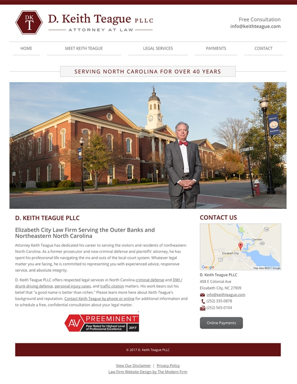 Law Firm Website Design for D. Keith Teague PLLC