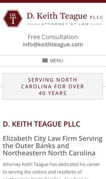 Responsive Mobile Attorney Website for D. Keith Teague PLLC