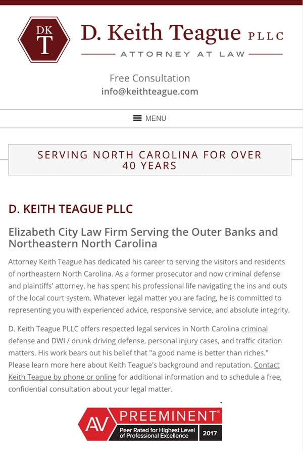 Mobile Friendly Law Firm Webiste for D. Keith Teague PLLC