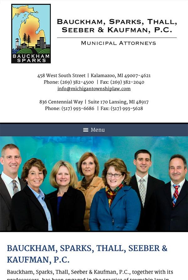 Mobile Friendly Law Firm Webiste for Bauckham, Sparks, Thall, Seeber & Kaufman, P.C.