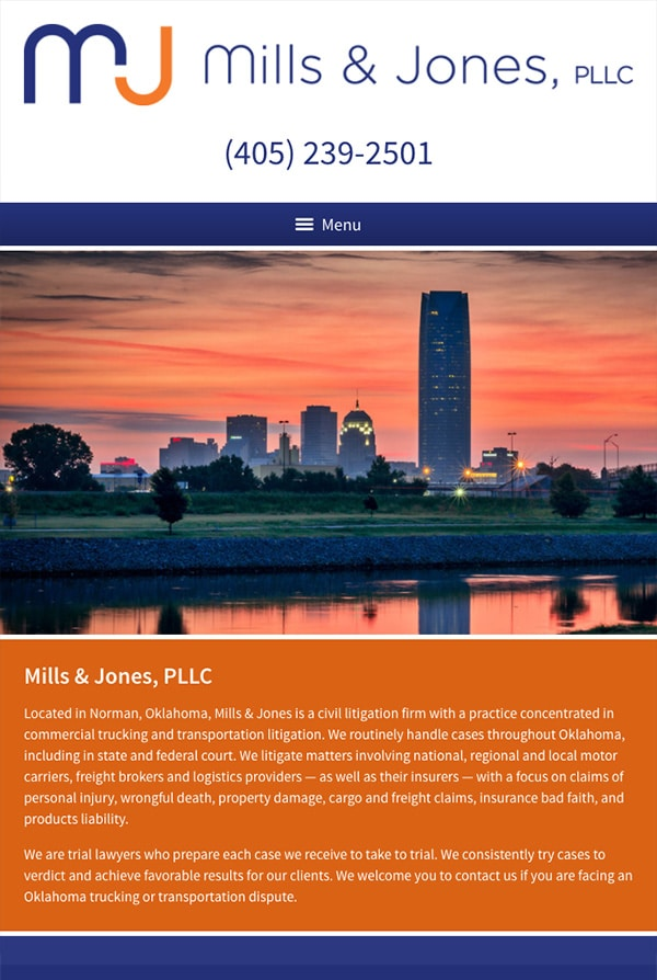 Mobile Friendly Law Firm Webiste for Mills & Jones, PLLC