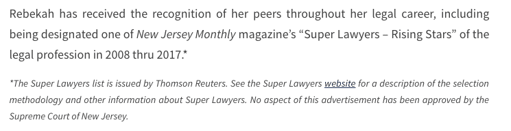 Super Lawyers Text Disclaimer