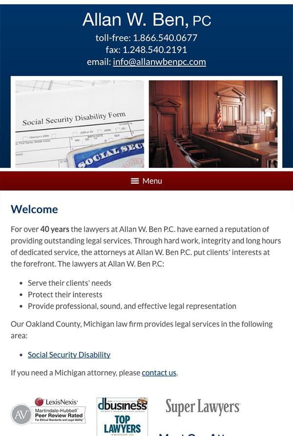 Mobile Friendly Law Firm Webiste for Allan W. Ben, PC