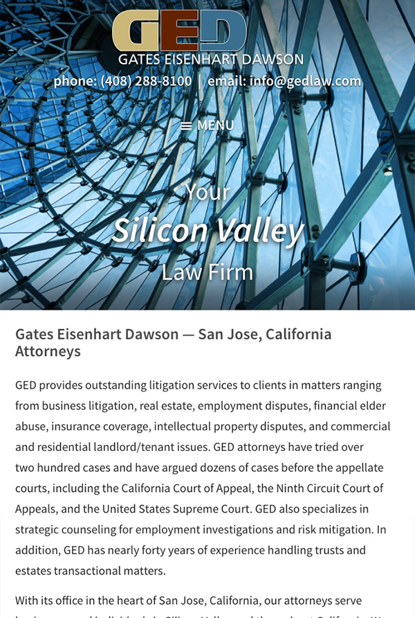Mobile Friendly Law Firm Webiste for Gates Eisenhart Dawson