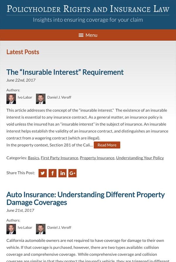 Mobile Friendly Law Firm Webiste for Kerr & Wagstaffe LLP