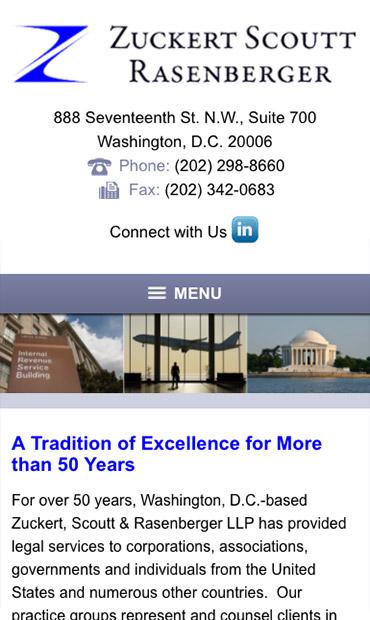 Responsive Mobile Attorney Website for Zuckert, Scoutt & Rasenberger, L.L.P.