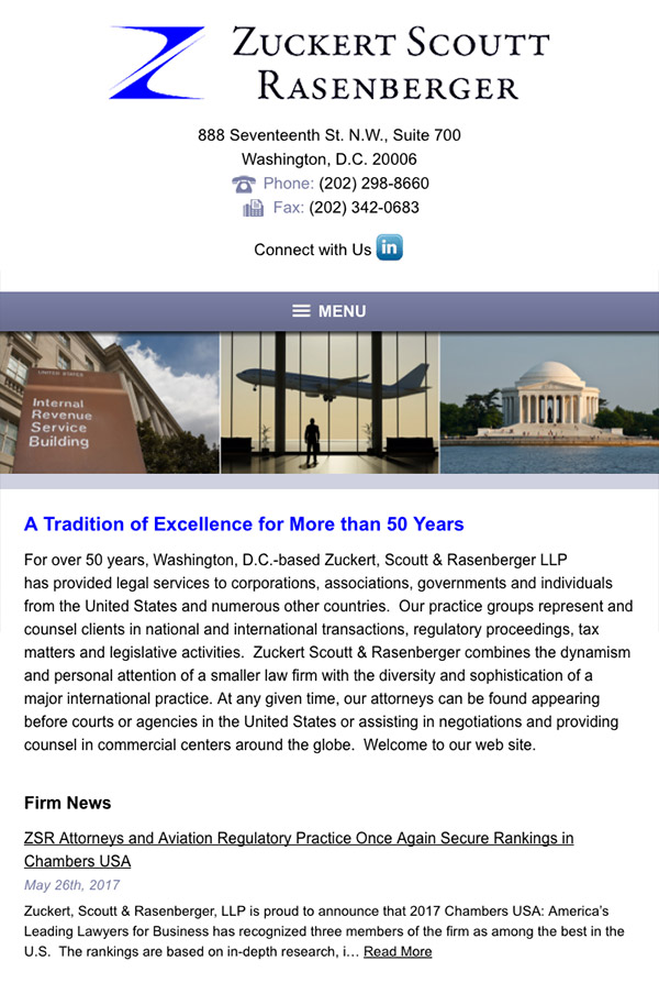 Mobile Friendly Law Firm Webiste for Zuckert, Scoutt & Rasenberger, L.L.P.