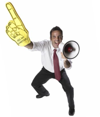 Testimonial - Guy with Megaphone and Foam Finger