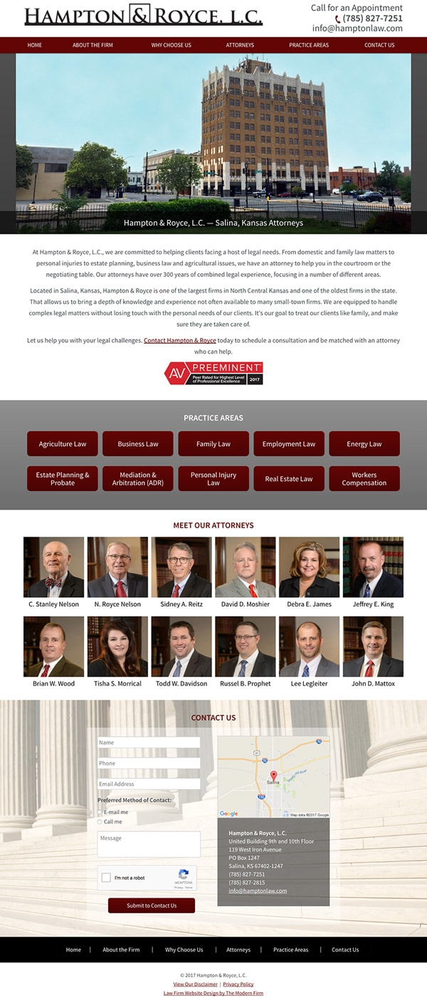 Law Firm Website for Hampton & Royce, L.C.
