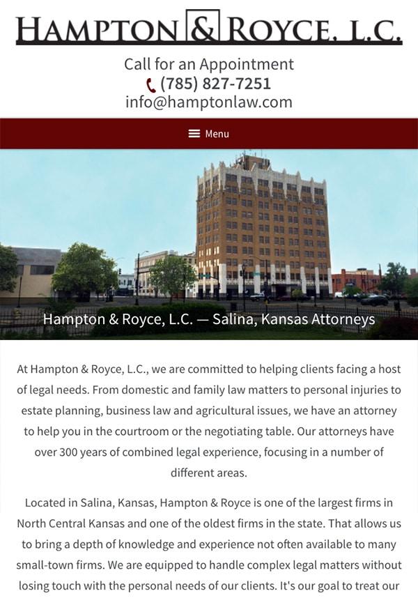 Mobile Friendly Law Firm Webiste for Hampton & Royce, L.C.