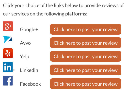 Attorney Social Media Review Buttons