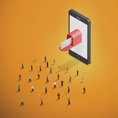 Email Marketing - Crowd Walking Toward Smartphone